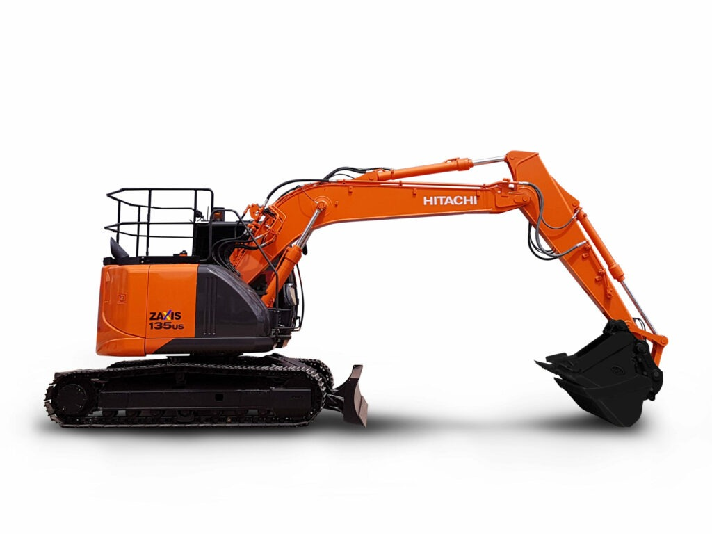 Hitachi 13.5 Tonne Excavator ZX135US-5 on white background