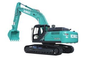 Kobelco 30 tonne excavator SK300LC10 on white background