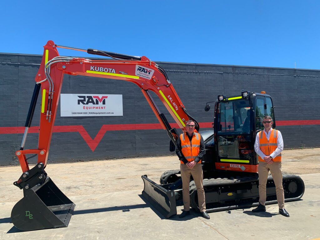 Pictured - Kubota KX080S Excavator with Kevin Grace (L) and Michael Grace (R)